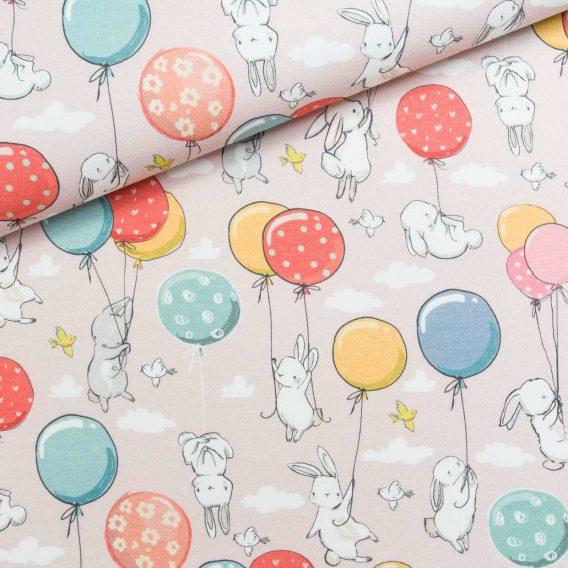 0,5m Sommersweat French Terry – niedliche Häschen mit Luftballons, Vögel und Wolken auf rosa – ca. 165cm breit – mint blau gelb orange – Digital – Ökotex
