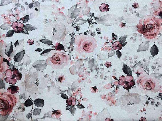 0,5 m Baumwolljersey mit wunderschönen Blumen / Blütentraum auf ecru / creme – ca. 165 cm – lachs rosa pink weinrot – Damen- und Kinderstoff für Mädchen / Sophie – Meterware – Digital – Ökotex