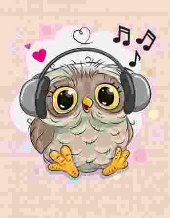 1 Sommersweat / French Terry Panel (40x50cm) – süße Eule mit Kopfhörer und Noten auf rosa Masche – mit Herzen Punkte und Noten – Einzelmotiv – Digital – Ökotex