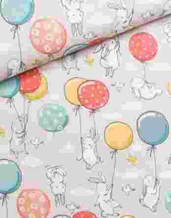 0,5m Premium Baumwollstoff mit herzallerliebsten Häschen und Luftballons auf rosa – ca. 150cm breit – 150 g/m2 – mint, blau, gelb, orange und rot – Digital – Ökotex