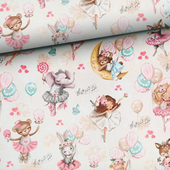 0,5m Premium Baumwollstoff mit Ballerinas, Bären, Hasen, Luftballons, Herzen, Noten, usw. auf creme – ca. 150cm breit – 150 g/m2 – rosa, pink, mint – Digital – Ökotex
