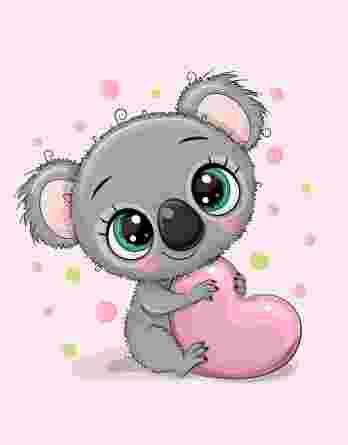 1 Sommersweat / French Terry Panel – ca. 40x50cm – Koalabär Mädchen mit Herz und Punke auf rosa – grün, grau und petrol – Einzelmotiv – Digital – Ökotex