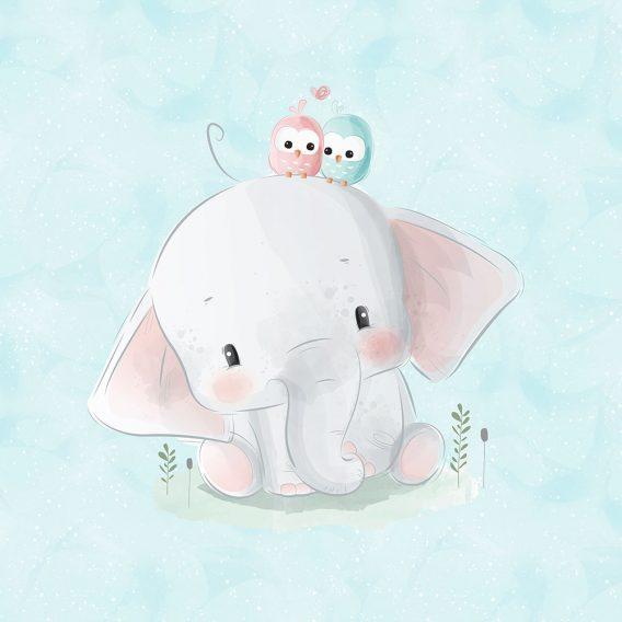 1 Sommersweat / French Terry Panel – 40x50cm – süßer Elefant mit niedlichen Eulen auf mint – rosa pink grün – Einzelmotiv – Digital – Ökotex