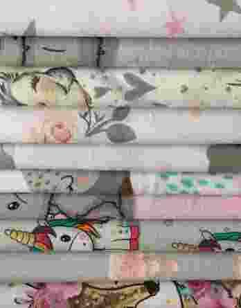 2m Mädchen Baumwollstoff Stoffreste Überraschungspaket | 25cm bis 45cm hoch bei bei voller Breite | 100% Baumwolle – 130g/m2 bis 150g/m2 – Ökotex
