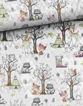 0,5m Baumwolljersey mit Tiere / Waldfreunde – Rehe, Waschbären, Füchse, Hasen, Eichhörnchen, usw. – 160cm breit – beige braun rosa weiß – Digital – Ökotex
