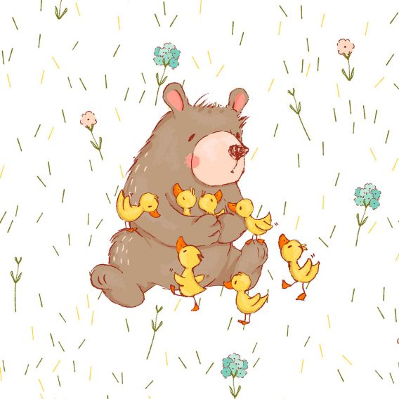 1 Sommersweat / French Terry Panel Entenliebe – süßer Bär mit Enten auf creme / weiß – Digital – Ökotex