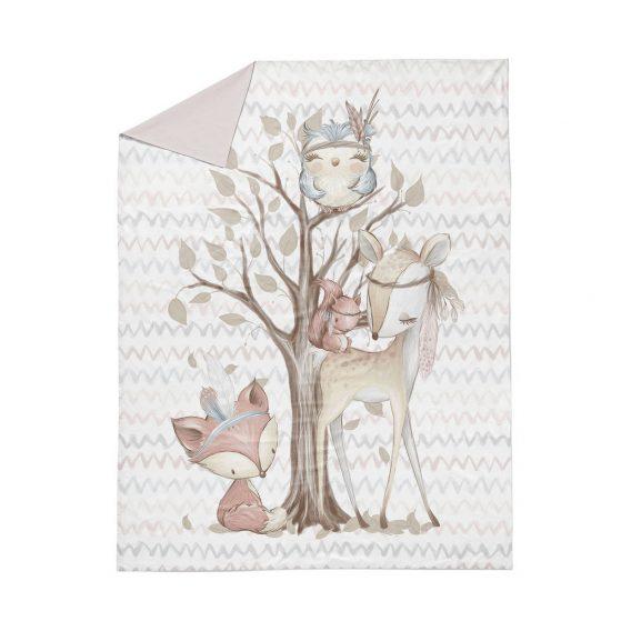 1 Baumwollstoff Tuchent / Bettdecke Panel – 160x100cm – Waldfreunde Serie / Bettwäsche Set – Tiere wie Reh, Fuchs, Eule und Eichhörnchen – Digital – Ökotex