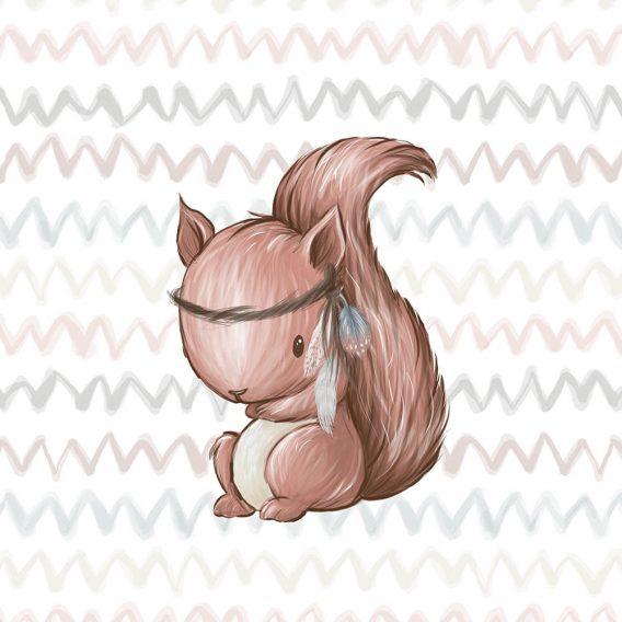 1 Baumwollstoff XS Polster Panel mit süßem Eichhörnchen – 38x38cm – Waldfreunde – premium – Digital – Ökotex