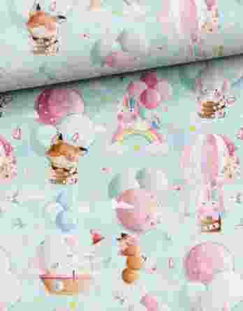 0,5m Premium Baumwollstoff mit niedliche Füchse, Einhörner und Elefanten auf blau / mint – mit Regenbogen, Luftballons, Heißluftballons, Schmetterlinge, Vögel, uvm.  – Digital – Ökotex