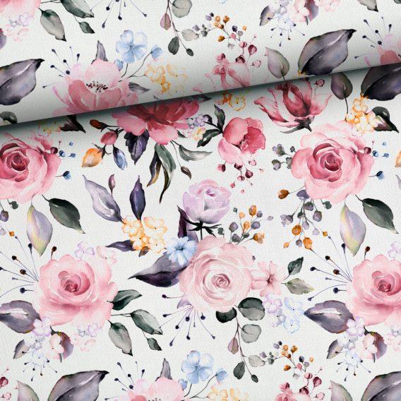 0,5m Ganzjahressweat / French Terry Rosentraum – wunderschöne Blumen auf creme / weiß – ca. 165cm breit – Digital – Ökotex