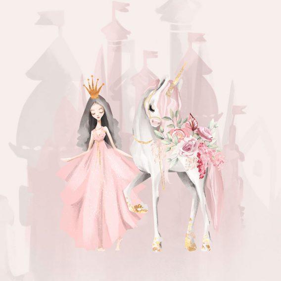 1 Sommersweat / French Terry Panel (40x50cm) – süße Prinzessin mit Einhorn auf puderrosa – Digital – Einzelmotiv – Ökotex