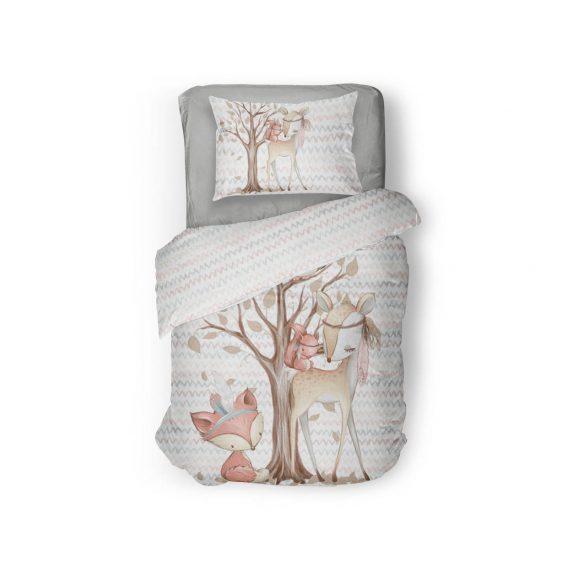 1 Baumwollstoff Polster Panel – 60x40cm – Waldfreunde Serie / Bettwäsche Set – Reh und Eichhörnchen auf Winkel – Digital – Ökotex
