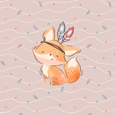 1 Sommersweat / French Terry Panel (40x50cm) – niedlicher Boho Indianer Fuchs mit Federn auf hellbraun / beige – Digital – Einzelmotiv – Ökotex