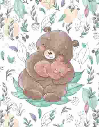 1 Sommersweat / French Terry Panel mit Mama & Baby Bär auf creme / weiß – Frühlingsliebe – Digital – Ökotex