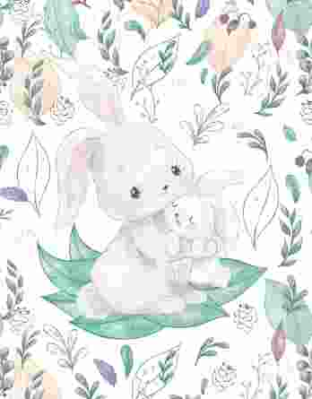 1 Sommersweat / French Terry Panel mit Mama & Baby Hase auf creme / weiß – Frühlingsliebe – Digital – Ökotex