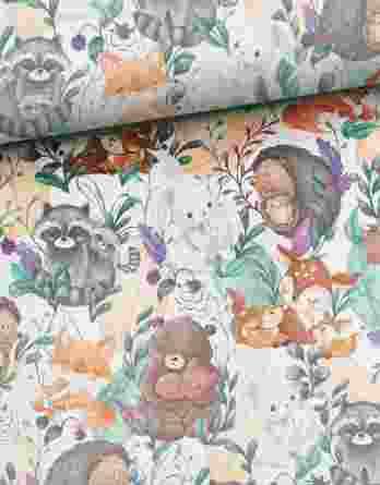 0,5m Sommersweat / French Terry mit Mama & Baby – Kombistoff Frühlingsliebe mit Füchse, Waschbären, Rehe, Igel, Bären und Hasen auf creme / weiß – ca. 165cm breit – Digital – Ökotex