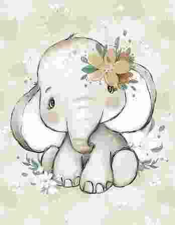 1 Sommersweat / French Terry Panel mit niedlichem Elefanten Mädchen mit Blumen – Steppenliebe – Digital – Ökotex