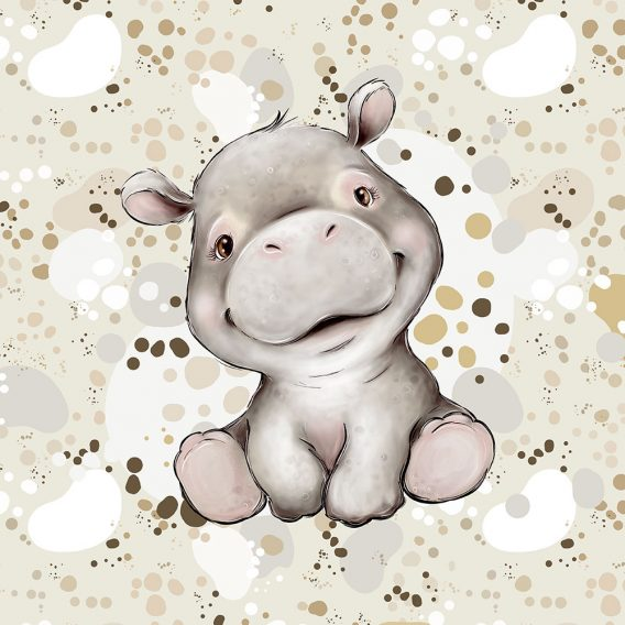 1 Sommersweat / French Terry Panel mit niedlichem Nilpferd Baby – Steppenliebe – Digital – Ökotex