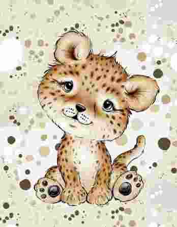 1 Sommersweat / French Terry Panel mit niedlichem Leopardenbaby – Steppenliebe – Digital – Ökotex