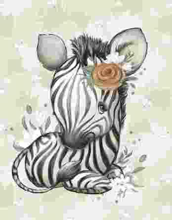 1 Sommersweat / French Terry Panel mit niedlichem Zebra Mädchen mit Blumen – Steppenliebe – Digital – Ökotex