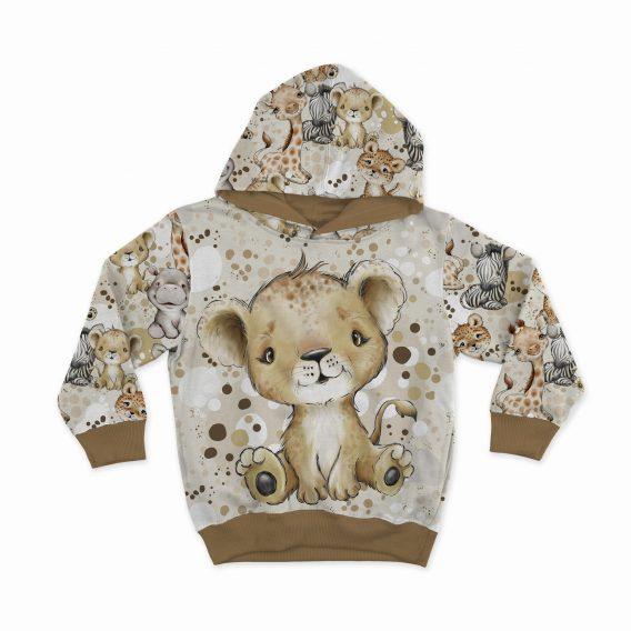 1 Sommersweat / French Terry Panel mit niedlichem Löwenbaby – Steppenliebe – Digital – Ökotex
