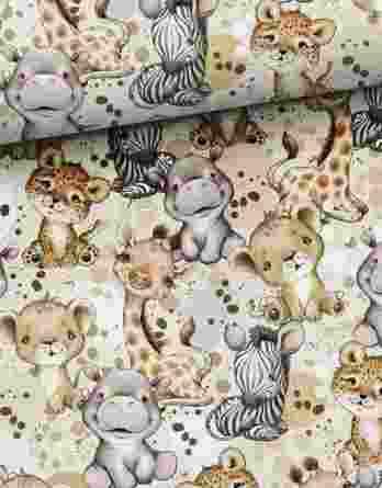 0,5m Sommersweat / French Terry mit Nilpferde, Giraffen und Zebras – Jungen Kombistoff Steppenliebe – ca. 165cm breit – Digital – Ökotex
