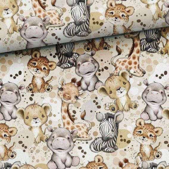 0,5m Premium Baumwollstoff mit Tiere wie Löwen, Geparden, Nilpferde, usw. – Steppenliebe – Digital – Ökotex