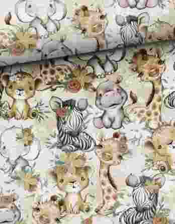 0,5m Sommersweat / French Terry mit Nilpferde, Giraffen und Zebras mit Blumen – Mädchen Kombistoff Steppenliebe – ca. 165cm breit – Digital – Ökotex