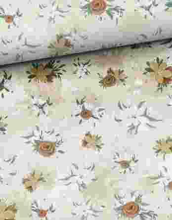 0,5m Sommersweat / French Terry mit wunderschönen dezenten Blumen – Kombistoff Steppenliebe – ca. 165cm breit – Digital – Ökotex
