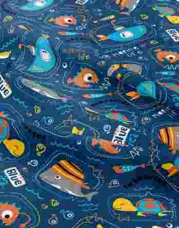 0,5m Sommersweat / French Terry mit Fische, Schildkröten, U-Boote auf dunkelblau – Marine Life – Digital – Ökotex