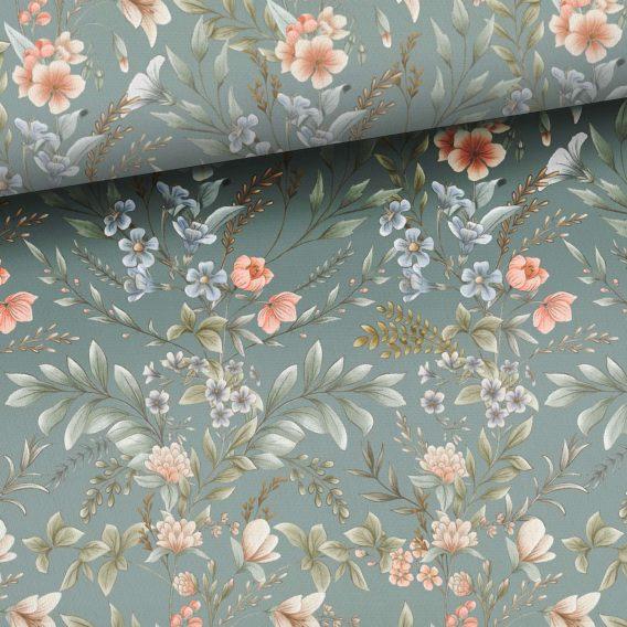 0,5m Sommersweat / French Terry mit wunderschönen dezenten Blumen auf blaugrau – Vintage Love – Digital – Ökotex