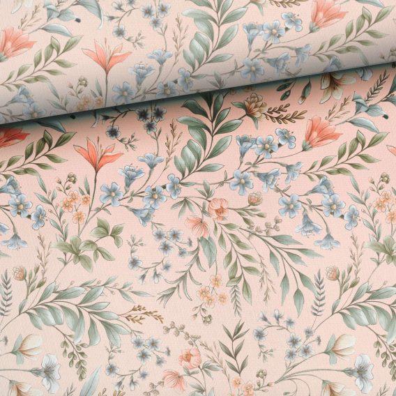 0,5m Sommersweat / French Terry mit wunderschönen dezenten Blumen auf rosa – Vintage Love – Digital – Ökotex