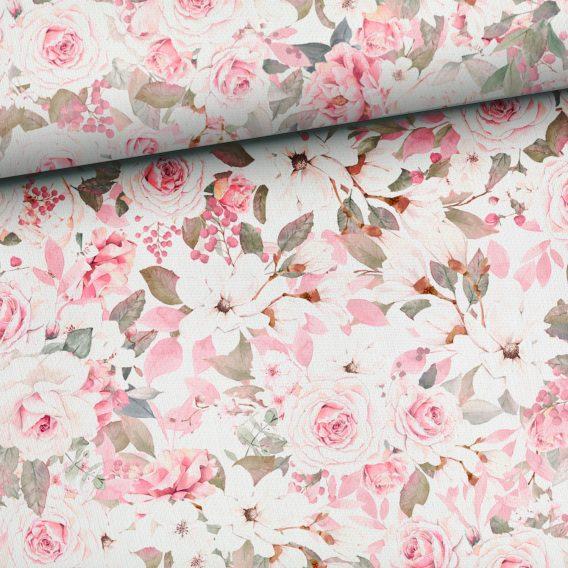 0,5m Ganzjahressweat / French Terry mit wunderschöne dezente Rosen auf creme / weiß – ca. 160cm breit – Digital – Ökotex
