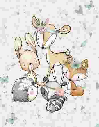 1 French Terry Panel mit süße Tiere – 40x50cm – Waldfreunde Girls – Digital – Ökotex