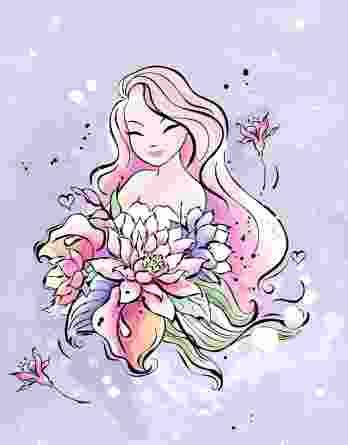 1 French Terry Panel mit süßem Mädchen und Blumen auf flieder / lila – ca. 40x50cm – Leander – Digital – Ökotex