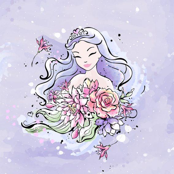 1 French Terry Panel mit süßer Prinzessin und Blumen auf flieder / lila – ca. 40x50cm – Leander – Digital – Ökotex