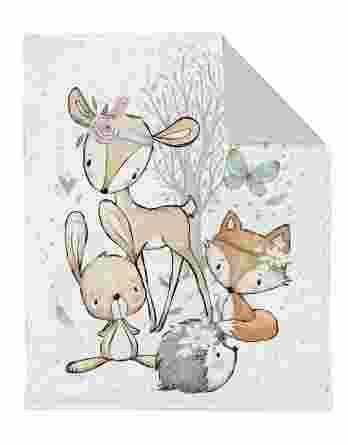 XL panel forest adventures 348x445 - 1 Baumwollstoff Tuchent / Bettdecke Panel - 75x100cm / xl - Waldfreunde Girls / Bettwäsche Set - Tiere und Herzen - Digital - Ökotex