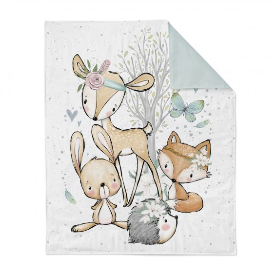 1 Baumwollstoff Tuchent / Bettdecke Panel – 75x100cm / xl – Waldfreunde Girls / Bettwäsche Set – Tiere und Herzen – Digital – Ökotex