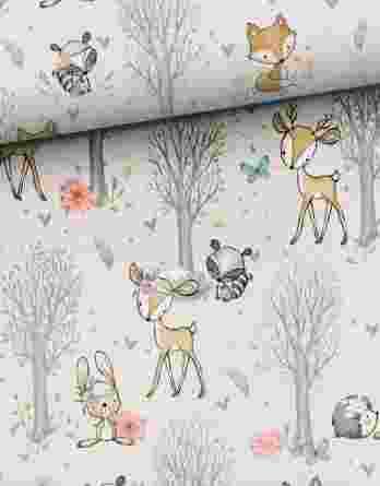 0,5m leichter Baumwolljersey mit süße Tiere, wie Rehe, Hasen, Waschbären, usw. – Waldfreunde Girls – Digital – Ökotex