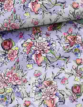 0,5m French Terry mit hübschen Blumen und Punkte auf flieder / lila – Leander – Digital – Ökotex