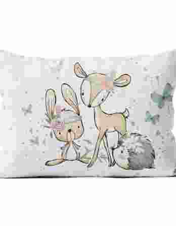 pillow 6040 panel forest adventures 348x445 - 1 Baumwollstoff Tuchent / Bettdecke Panel - 75x100cm / xl - Waldfreunde Girls / Bettwäsche Set - Tiere und Herzen - Digital - Ökotex