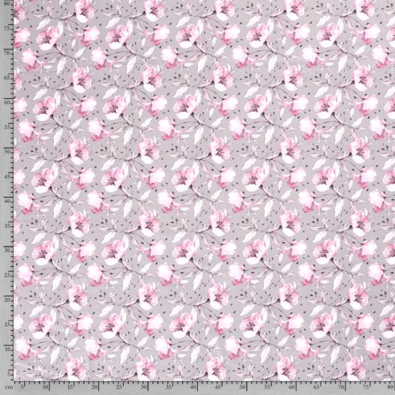 0,5m Baumwolljersey mit bezaubernden Blumen in rosa auf grau – Blumentraum – Ökotex