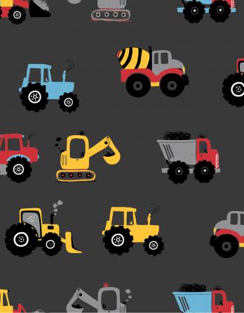 0,5m Baumwolljersey Stoff mit Baustellen Fahrzeuge auf anthrazit – BOYS – Ökotex