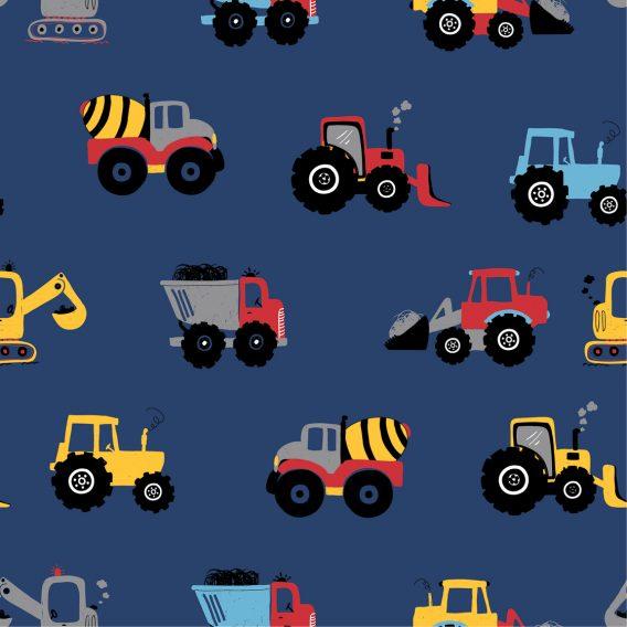 0,5m Baumwolljersey mit Baustellen Fahrzeuge auf jeansblau – BOYS – Ökotex