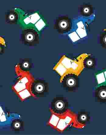0,5m Baumwolljersey Stoff mit bunten Traktoren auf dunkelblau – BOYS – Ökotex