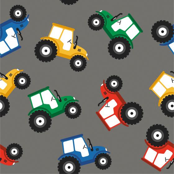0,5m Baumwolljersey Stoff mit bunten Traktoren auf grau – BOYS – Ökotex