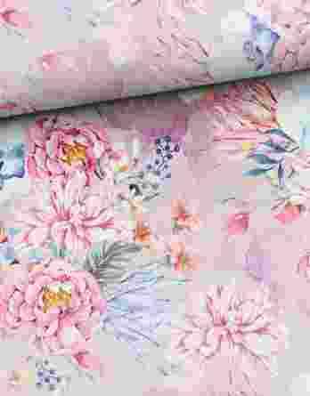 0,5m French Terry mit wunderschönen Blumen und Blüten – Peonies Traum – Digital – Ökotex