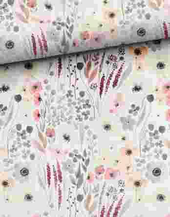 0,5m French Terry mit wunderschönen dezenten watercolor Blumen auf creme – Mailüfterl – Digital – Ökotex