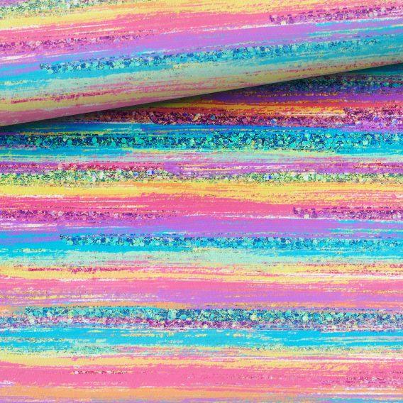 0,5m French Terry mit Streifen in Regenbogenfarben, wie türkis, gelb, rosa, lila, usw. – Digital – Ökotex