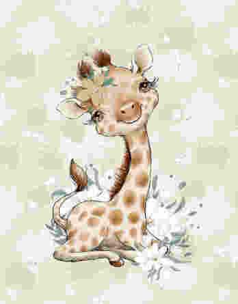 FT panel african baby giraffe 348x445 - 0,5m Sommersweat / French Terry mit Nilpferde, Giraffen und Zebras mit Blumen - Mädchen Kombistoff Steppenliebe - ca. 165cm breit - Digital - Ökotex